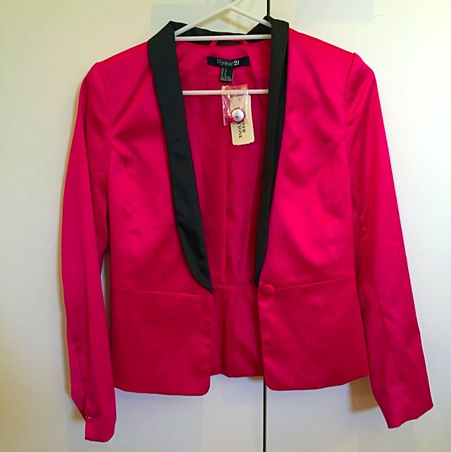 Forever 21 Fuchsia/ Black Career Jacket
