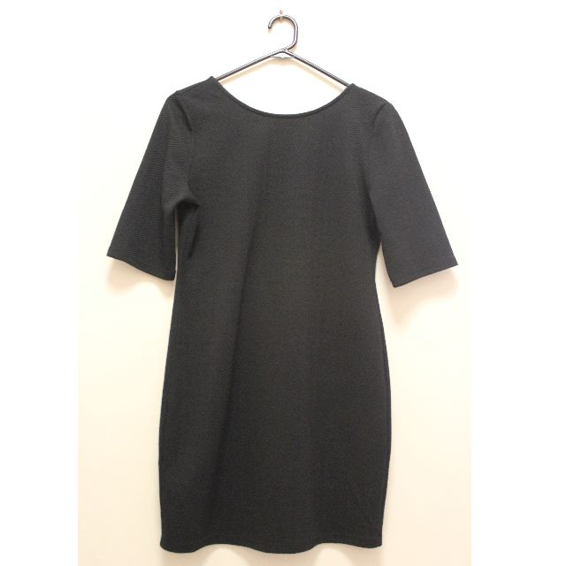 Glamorous (UK) Mini Dress in Textured Jersey with Scoop Back in Black (Size 12)