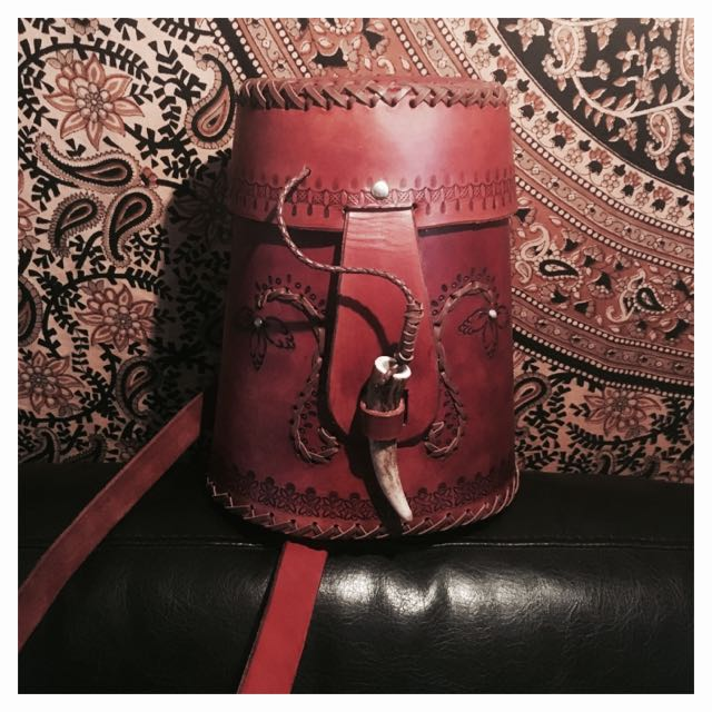 Handmade Bohemian Leather Handbag With Elk Horn Toggle