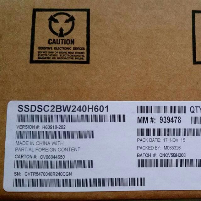 Intel 535 SSD固態硬碟 240GB 5年保固 全新品