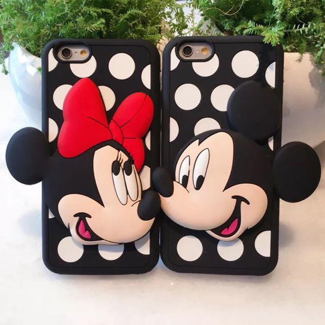 【現貨】iPhone 6s波點米妮米奇立體卡通矽膠軟殼 保護殼 情侶手機殼