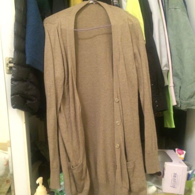 Lativ舒服薄款駝色針織外套