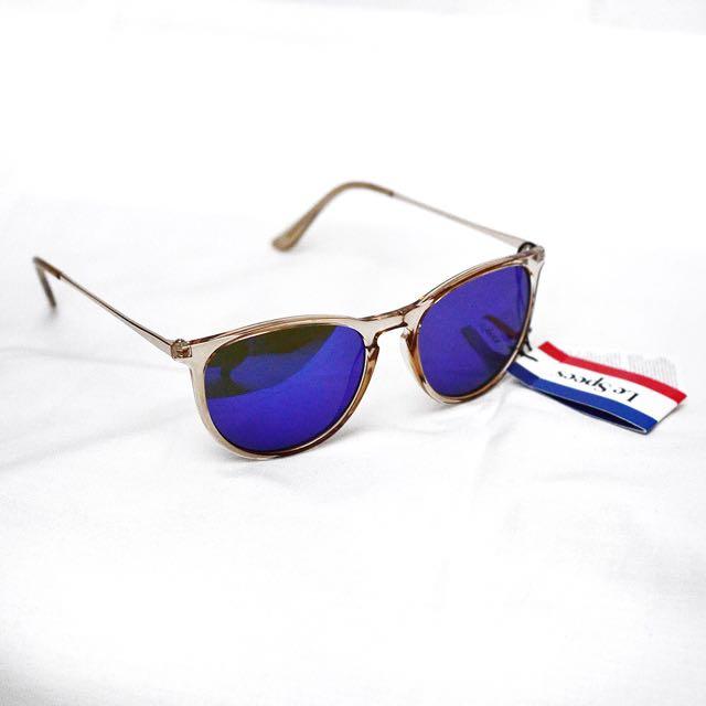 Le Specs Blue Mirror Sunglasses