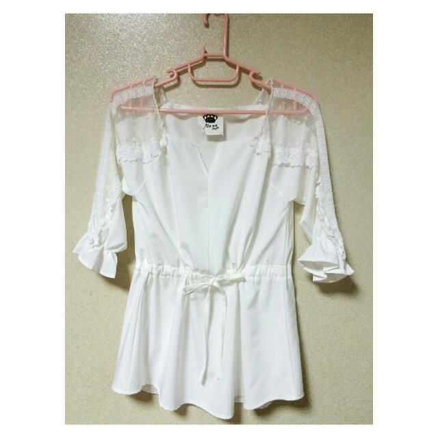 [韓模雜誌款]蕾絲mixed白網紗可調式抽繩上衣