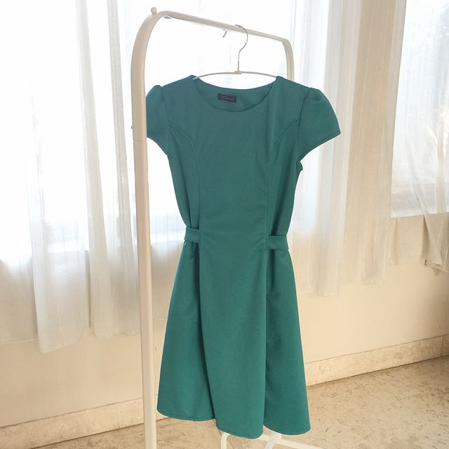 New Green Teal Skater Dress