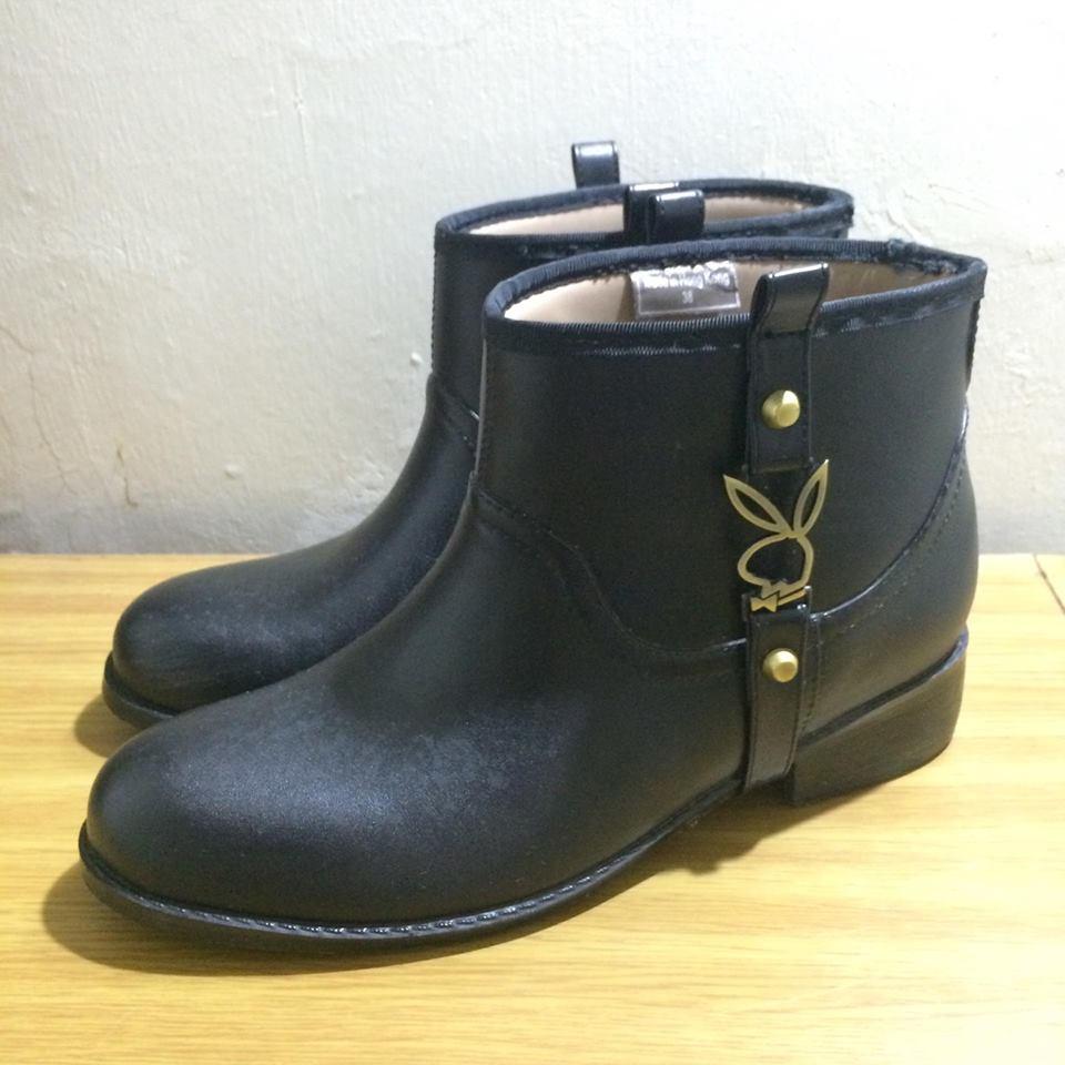 PLAYBOY 專櫃 金屬兔子LOGO 黑色 雨靴 短靴 8成新  EU 38 ( EU 39 可穿 )