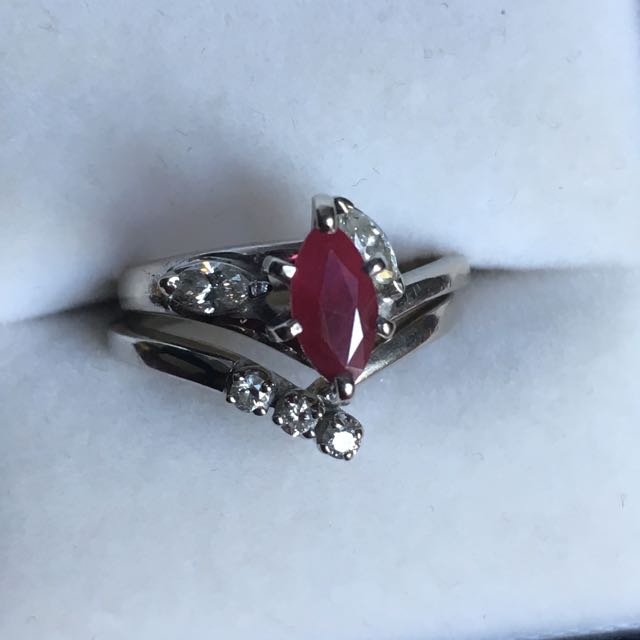 Ruby, Diamond, White Gold Ring Set