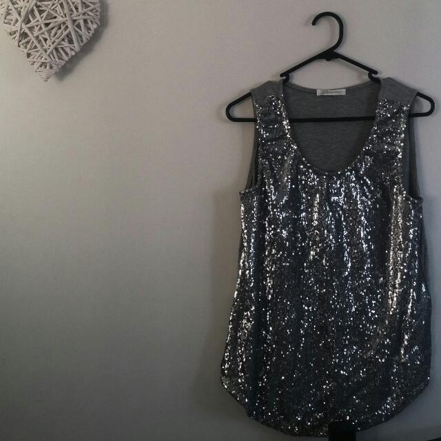 Silver Sequin Top. Size 12