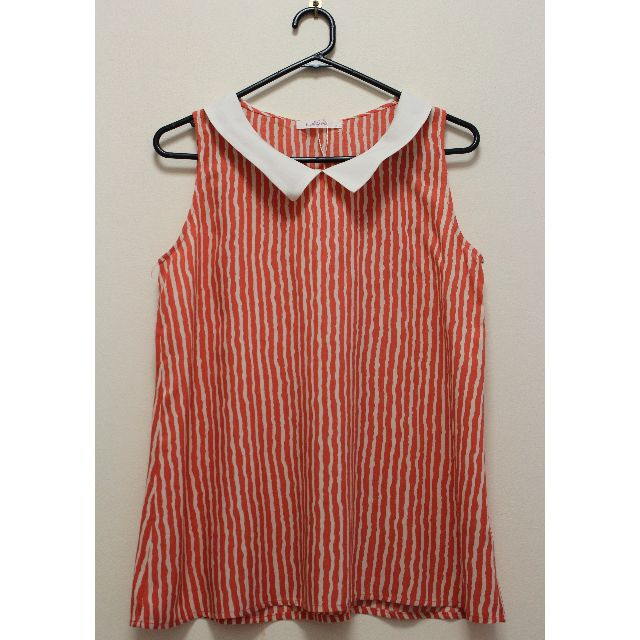 Sleeveless Collared Striped Top in Orange and White (Size L)