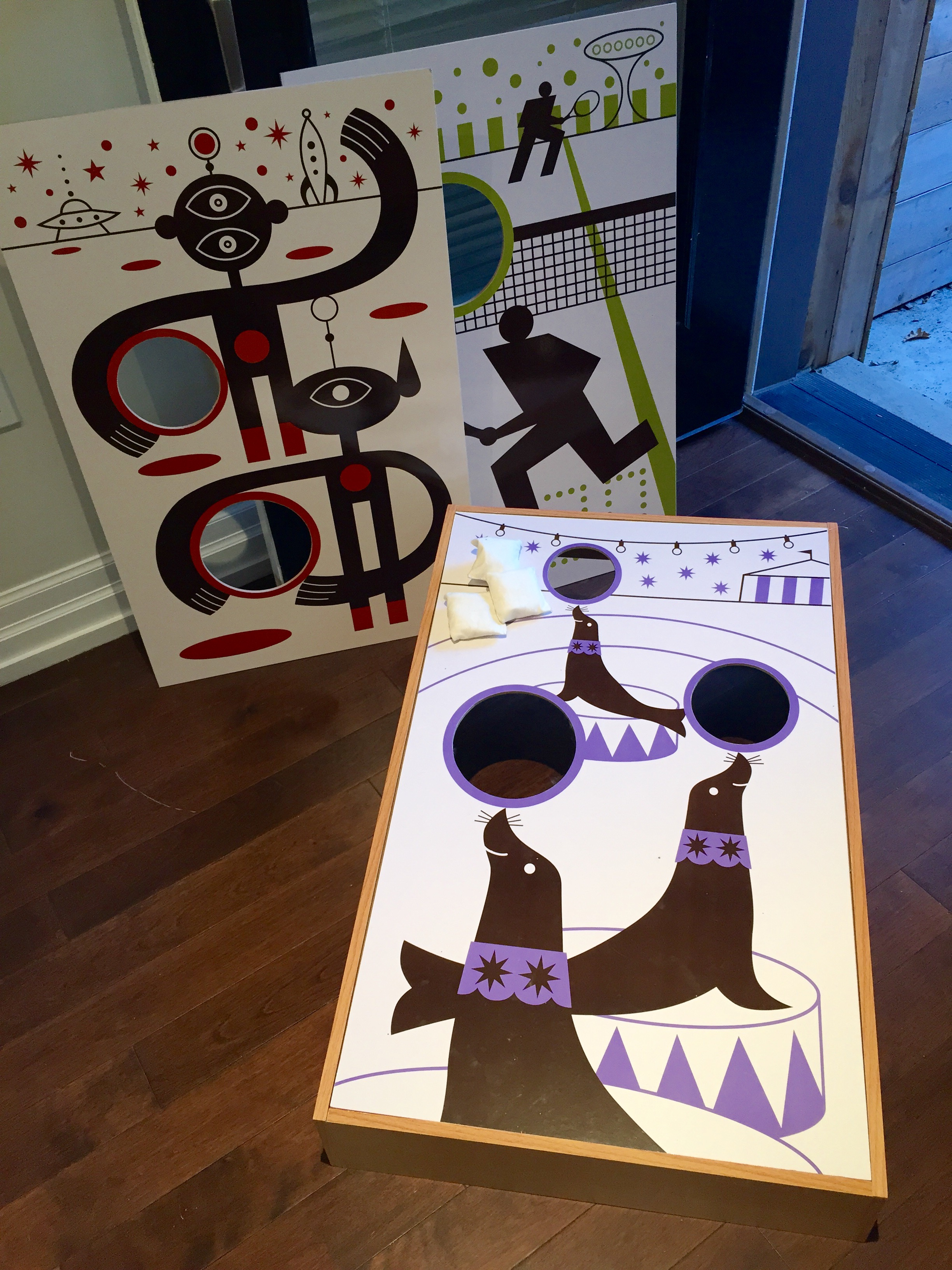 WOODEN BEANBAG TOSS GAME - 1, 2, AND 3 HOLES! BARELY USED, IN EXCELLENT CONDITION, FROM CRATE AND BARRELL OWNED STORE 'THE LAND OF NOD'