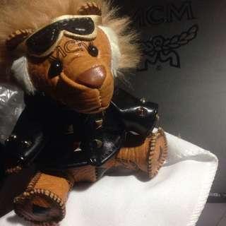Sold !! Authentic MCM Visetos Moto Lion Key Ring/Bag Charm, Cognac