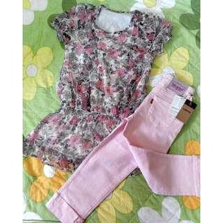 全新 Levi's 粉色窄管及膝褲 牛仔褲 休閒褲 童