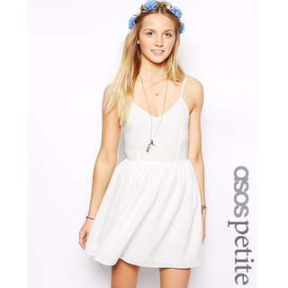 ASOS PETITE Exclusive Textured Check Sundress - White/UK10
