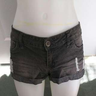 ICE Ripped Grey Denim Shorts