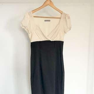 Cream & Black Dress