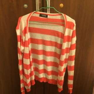 橘白條紋針織薄罩衫