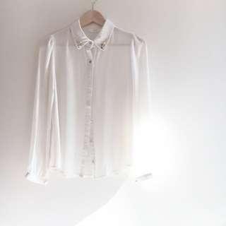 Studded White Blouse