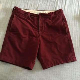 二手Abercrombie & Fitch A&F AF麋鹿短褲/五分褲(30)(男S) 近全新 酒紅色 絨布