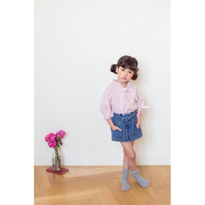 全新韓國空運正韓甜美高腰彈性荷葉邊大口袋牛仔短褲尺寸11身高120童裝