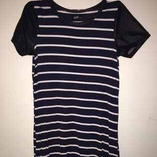 Dotti Navy Cotton Dress With Leather Sleeves
