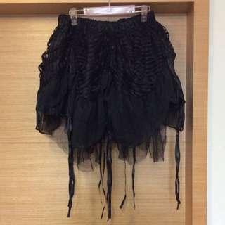 Mar Jour暗黑絲綢感下擺線條搖曳不規則抽繩澎紗裙