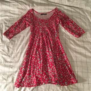 Short Floral Red Dress