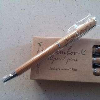 6 X Eco Friendly Bamboo Case Pens