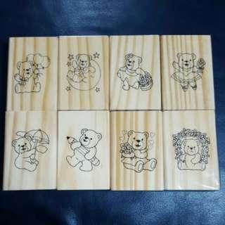 泰迪熊 木製印章 木頭印章 8入