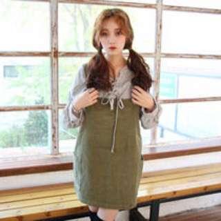PLANET 古著森林系工字吊帶裙 背心裙 短裙 草綠色