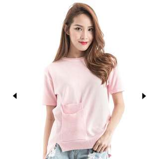 BNIB Pocket Knit Tee In Pastel Pink