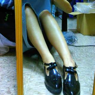 流蘇一字扣黑色樂福鞋