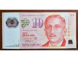 singapore 6AA $10