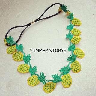 (現貨)夏日鳳梨菠蘿香蕉水果髮帶