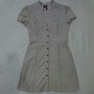 MANGO Button Down Beige Dress