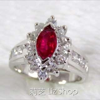 紅寶石戒指 純銀白K戒台(7月誕生石)