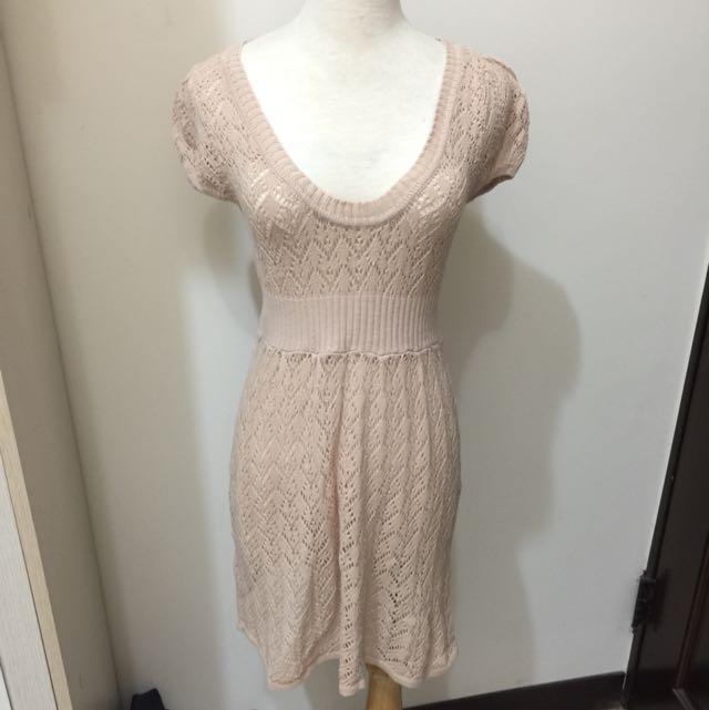 針織淺粉色連身裙(含郵)