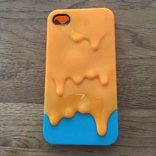 冰淇淋 撞色 橘色 藍色 iPhone 4 手機殼