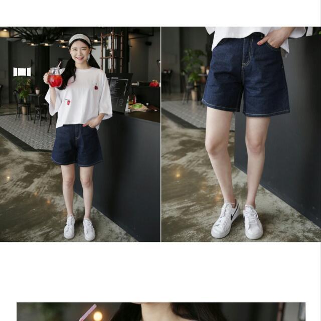 正韓 寬版簡約休閒牛仔短褲 深藍色 尺寸L