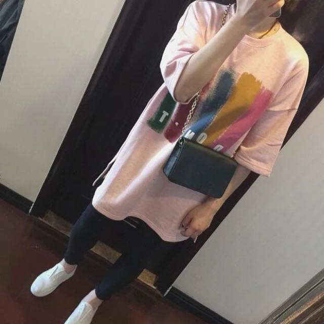 ▲ 夏季 T恤 女裝 韓版學院休閒風 寬鬆大T 撞色短袖 字母長版