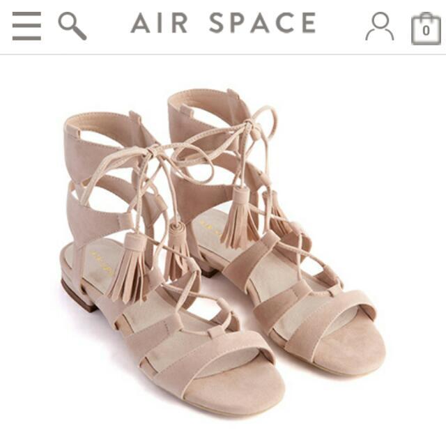 全新Airspace 流蘇綁帶涼鞋(裸粉)