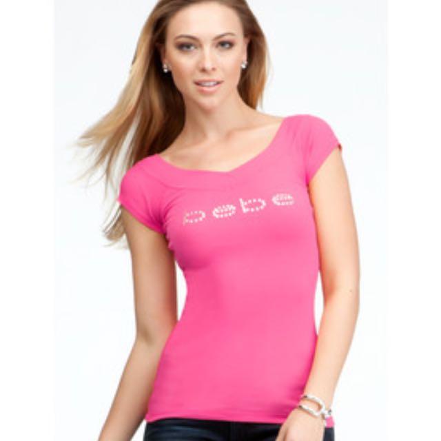 BEBE Logo Double V-Neck Shirt in Red