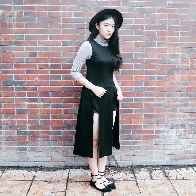 Black Slit Top