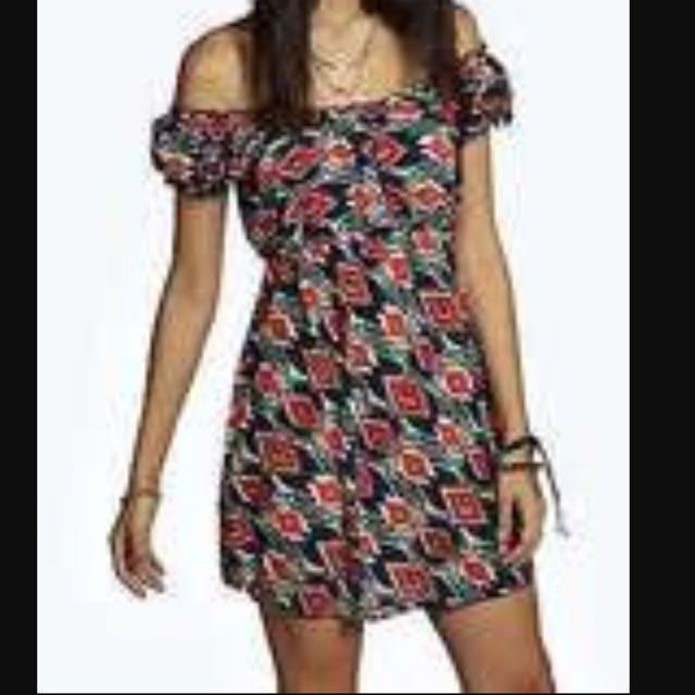 Boohoo Aztec Off The Shoulder Dress