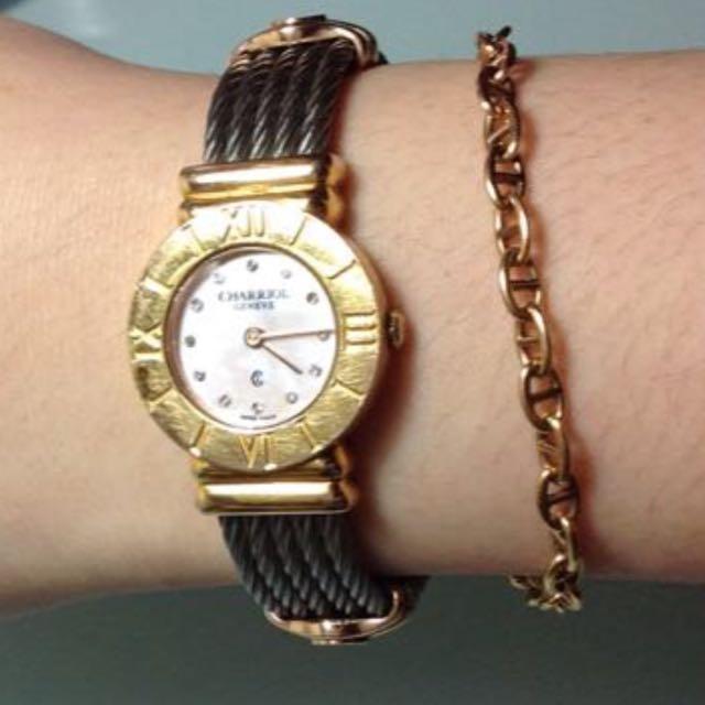 夏利豪CHARRlO真品玫瑰金真鑽手錶