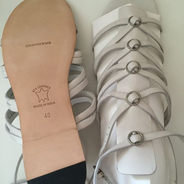 Country Road White Gladiator Sandals Leather Size 41