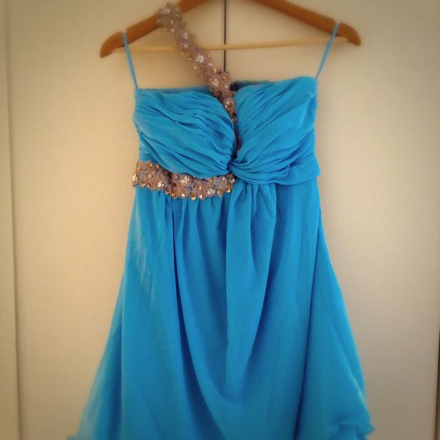 Flared, Sequence Detailed, Warm Sky Blue Color Chiffon Dress For A Cocktail Party