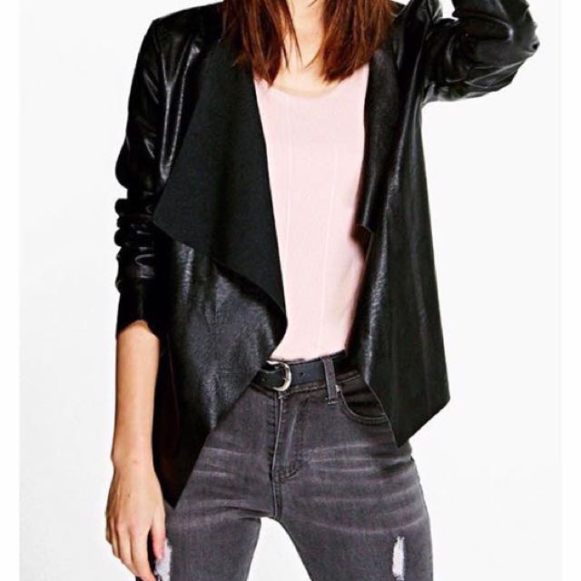 Kristina Waterfall Faux Leather Jacket - size 10 - black. Brand new, never worn.