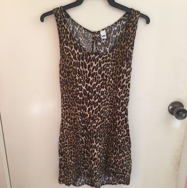 Lee Cheetah Print Dress w/ Lace Up Back AU8