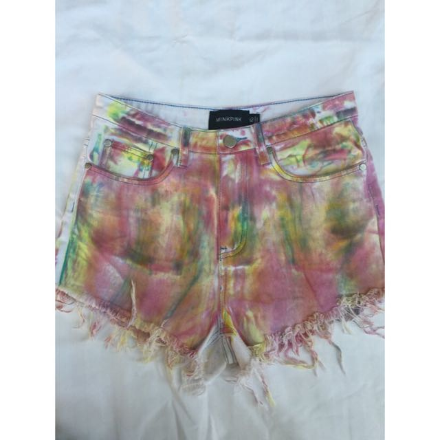 Minkpink high waisted denim shorts multicolored