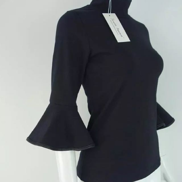 🆕Available: Flare Sleeves Black Cotton Top
